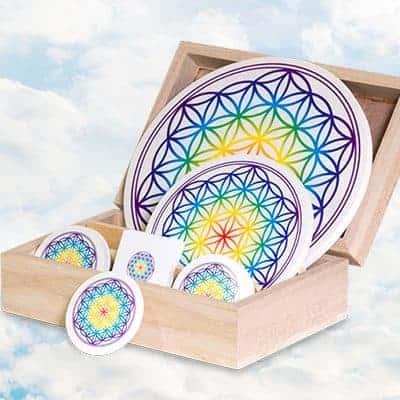Aufkleber Set Blume des Lebens Chakra transparent / weiß