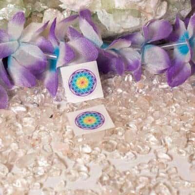 Aufkleber Blume des Lebens Chakra transparent d20mm
