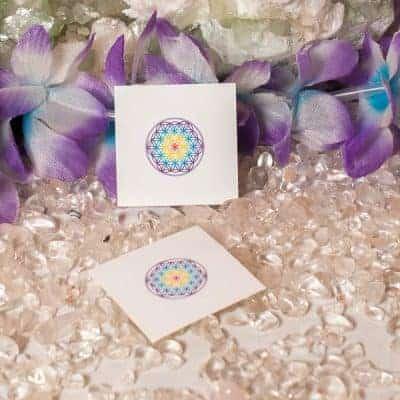 Aufkleber Blume des Lebens Chakra weiß d20mm