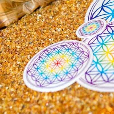 Aufkleber Blume des Lebens Chakra transparent d95mm