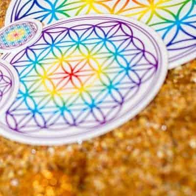 Aufkleber Blume des Lebens Chakra transparent d140mm