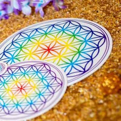 Aufkleber Blume des Lebens Chakra transparent d210mm