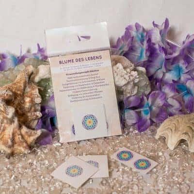 Verpackte Aufkleber Blume des Lebens Chakra 2x d20mm transparent / 2x d20mm weiß