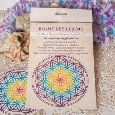 Verpackte Aufkleber Blume des Lebens Chakra 1x d140mm transparent