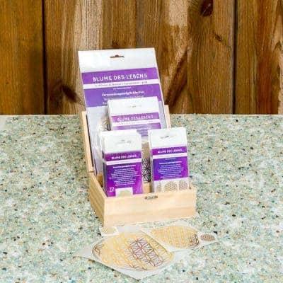 Holzbox Set Blume des Lebens transparent / gold
