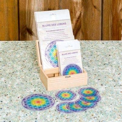 Holzbox Untersetzer Set Blume des Lebens