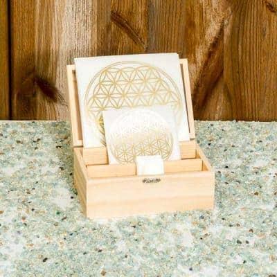 Holzbox Set Blume des Lebens transparent / gold – lose