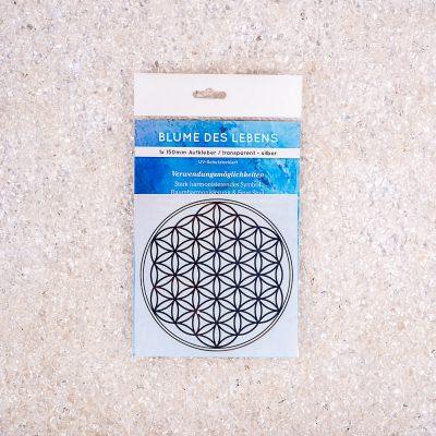 Verpackte Aufkleber Blume des Lebens 1x d150mm transparent / silber