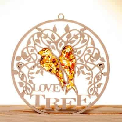 Suncatcher Bernstein in Birkenholz – Love Tree