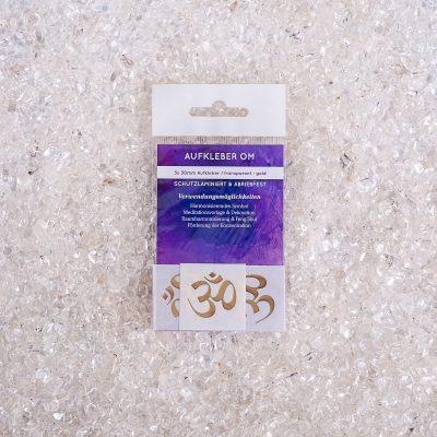 Verpackte Aufkleber OM 3x d30mm transparent / gold, ABRIEBFEST