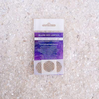 Verpackte Aufkleber Blume des Lebens 3x d30mm transparent / gold, ABRIEBFEST