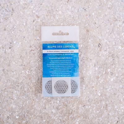 Verpackte Aufkleber Blume des Lebens 3x d30mm transparent / silber, ABRIEBFEST