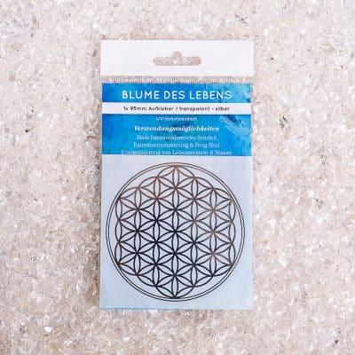 Verpackte Aufkleber Blume des Lebens 1x d95mm transparent / silber