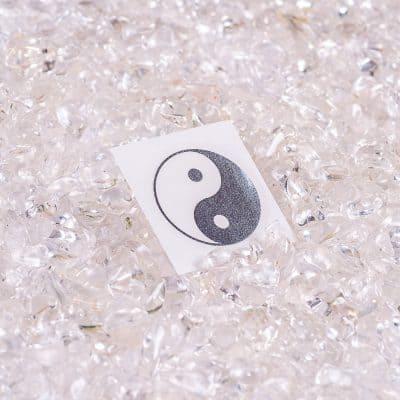 Aufkleber Ying Yang Silber transparent d30mm, ABRIEBFEST