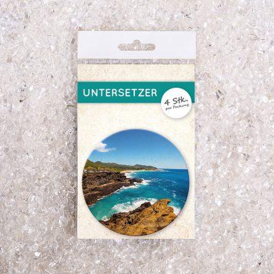 Untersetzer Set Foto Felsen/Meer d95mm 4Stück / Packung
