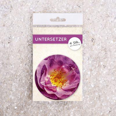 Untersetzer Set Foto Blume Hibiskus violett d95mm 4Stück / Packung