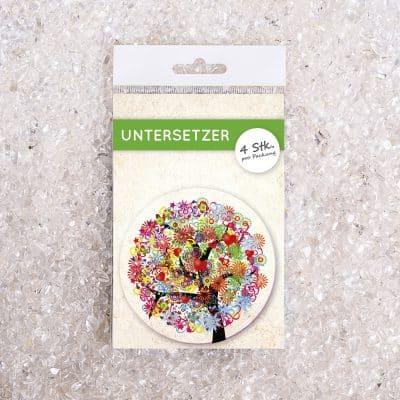 Untersetzer Set Baum bunt d95mm 4Stück / Packung