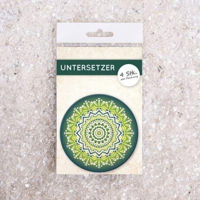 Untersetzer Set Mandala invert grün d95mm 4Stück / Packung