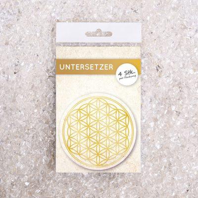 Glasuntersetzer Set Blume des Lebens gold d95mm 4Stück / Packung