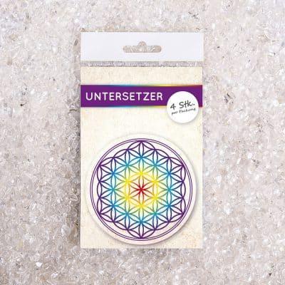 Untersetzer Set Blume des Lebens bunt d95mm 4Stück / Packung