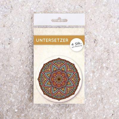 Untersetzer Set Mandala grün/orange d95mm 4Stück / Packung