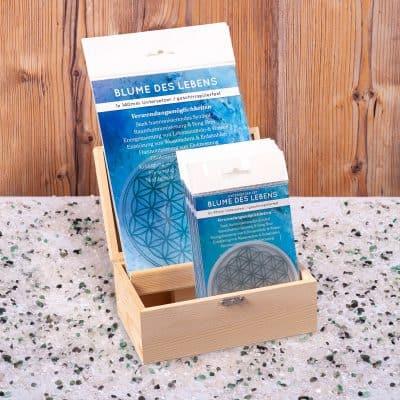 Holzbox Untersetzer Set Blume des Lebens silber
